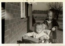 Old Vintage Photograph Cute Babies Jumper Chair Seat Binky in Mouth By House