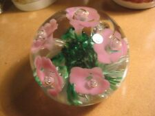 Vintage Gibson 1988 Pink Flower Floral Glass paperweight