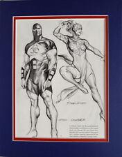 ATOM-SMASHER & STARWOMAN PRINT PROFESSIONALLY MATTED Alex Ross art JLA
