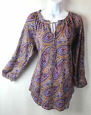 Lucky Brand Womens L Large Purple Floral Tie Neck Peasant Boho Top Blouse Tunic