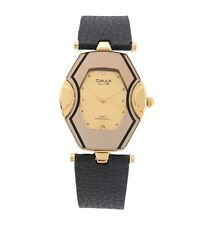 OMAX Women's Gold Face Two Tone Wrist Watch Leather Black Strap Analog Quartz