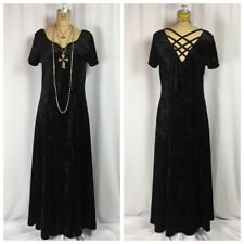 Vintage 90's Goth Black Crushed Velvet Criss-Cross Back Witchy Grunge Maxi Dress