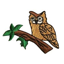 ID 0622 Owl On Branch Bird Embroidered Iron On Applique Patch