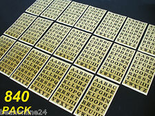 840 Pack Gold Alphabet Stickers 14 x 13mm Labels Letters