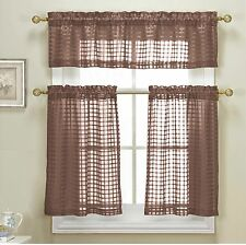 Cleo Chocolate Brown Sheer Checkered 3 Pc Kitchen Tier Valance Curtain Set