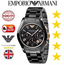 BRAND NEW GENUINE MENS EMPORIO ARMANI AR1410 CERAMIC BLACK & GOLD WATCH WITH BOX