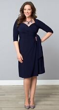 NEW KIYONNA LANE BRYANT NAVY BLUE SWEETHEART KNIT WRAP DRESS PLUS SIZE 1X