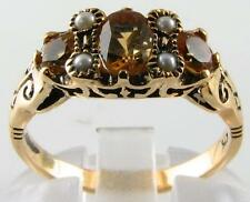 STUNNING QUALITY 9K VICTORIAN CITRINE & PEARL RING