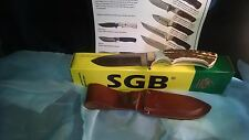 "PUMA COYOTE STAG SGB 8 1/4"" OVERALL 440A SOLINGEN STEEL BLADE W/ BROWN SHEATH"