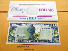 DISNEY NOVELTY DOLLAR *  MONSTER'S,INC. * 2001 + DISNEY DOLLAR ENVELOPE