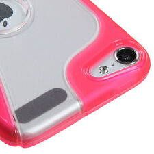 iPod Touch 5th 6th Gen -HARD RUBBER SILICONE GUMMY CASE SKIN COVER PINK / CLEAR