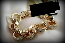Haute Couture Bracelet made w/ Swarovski Crystal Gold Link Bold Toggle Closure