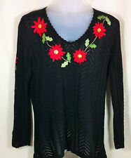 Storybook Knits Christmas Sweater  Poinsettias