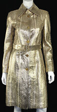 BERGDORF GOODMAN Metallic Gold Python Skin Belted Trench Coat 40