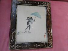 Antique Asian Watercolor of a Kappa Framed and Artist Signed