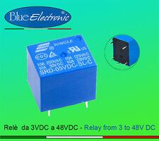 RELAY RELE' alimentazione da 3V a 48V DC (3-6-9-12-24 ecc) 10A ARDUINO
