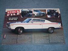 "1970 American Motors Rebel The Machine Vintage Info Article ""Stock File"""