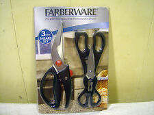 FARBERWARE 3 PIECE SHEARS SET / SCISSORS / NEW / FREE SHIPPING