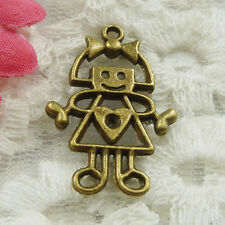 Free Ship 40 pieces bronze plated girl charms 28x18mm #1834