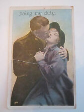 """1918 WWI VINTAGE """"DOING MY DUTY"""" POSTCARD STAMPED  - TUB CCC"""