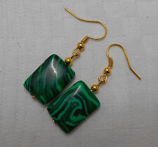 Unique handmade earrings green malachite gold plated with free stoppers