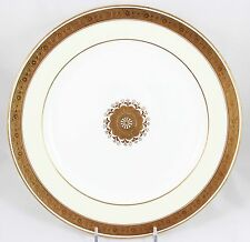 2 ANTIQUE DINNER PLATES MINTON CHINA H1821 RAISED GOLD ENCRUSTED FLORAL CREAM