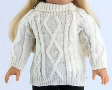 """Lovvbugg! White Cable Sweater for 18"""" American Girl Doll Clothes Pulls Over!"""