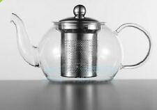 Glass Teapot 800ml with stainless steel infuser Lid Flowering/Herbal Tea FreeP&P