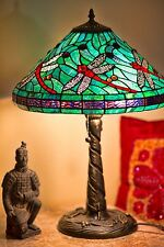 """Tiffany Style Turquoise Dragonfly Table Lamp 16"""" Shade Handcrafted New"""