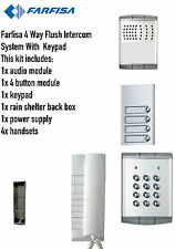 Farfisa 4 Way Flush Intercom Audio/System Kit 1xIntercom 4xHandsets 1x Keypad