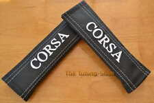 2x SEAT BELT COVERS PADS LEATHER white stitch EMBROIDERY CORSA FOR Vauxhall Opel