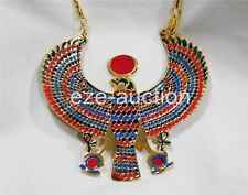 Egyptian Hand Made Falcon Enameled Brass Pectoral Necklace With Life key