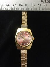 Vintage Rouan Women's Wristwatch Gold Tone Round Red Rose Date Works