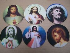 Lot of 6 Neoprene Mexican Jesus Images Coasters - Nice!