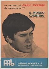 GIANNI MORANDI il mondo cambierà 1972 spartito sheet music da canzonissima '72