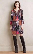 NWT $148 ANTHROPOLOGIE ONE SEPTEMBER Boho ARCATA 3/4 Sleeve Patchwork Dress XS