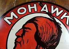 "MOHAWK GASOLINE INDIAN HEAD RED & WHITE 14"" ROUND GAS STATION ADVERTISING SIGN"