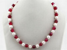 Long 24 inches 7-8mm Natural White Pearl & Red Jade Round Beads Necklace