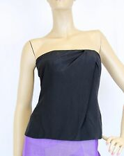 $795 NEW Authentic Gucci Silk Tube Corset Sleeveless Top, Black, 42, 264013