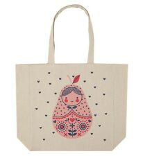 Cotton On Russian Doll Matryoshka beige cotton tote eco reusable shopping bag