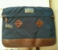 BNWT Vintage Polo Ralph Lauren folio tablet laptop case navy and leather