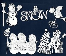10  TATTERED LACE SNOWMAN DIE CUTS- 5 DESIGNS-WHITE  CHRISTMAS -COTTAGE CUTZ