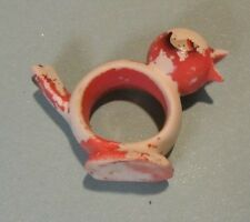 "Mid Century Ceramic Baby Bird Napkin Ring Stands Up  3"" Long 2.25"" Tall Pink"