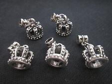 5pcs Tibetan Silver Pretty Queen Crown Dangle Charm Beads Fit European Bracelet