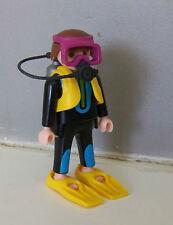 PLAYMOBIL (Z305) MER - Plongeur Homme Palmes Bouteilles Masque Détendeur 3953