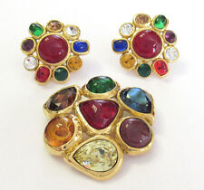 AUTHENTIC VINTAGE CHANEL GRIPOIX RHINESTONE EARRINGS & BROOCH SET MADE IN FRANCE
