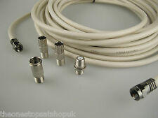 2m Universal Aerial RF Cable F Satellite Flylead, Freesat, Terrestrial, Coaxial