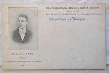 carte postale ancienne sténographie - L. F. CANET - EXPOSITION DE LIMOGES - N° 9