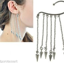 Elegant Women Pair Silver Tassel Spikes Crystal Chain Ear Cuff Earring No Pierce