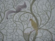 """SANDERSON CURTAIN FABRIC """"Squirrel & Dove"""" 5 METRES SAGE/NEUTRAL EMBROIDERED"""